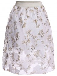 Floral Print High Waist Midi Skirt - WHITE