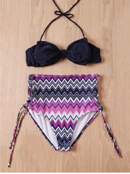 Stylish Bowknot Zig Zag High-Waisted Bikini Set For Women