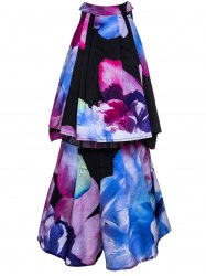 Trendy Stand Collar Floral Print Sleeveless Crop Top and Shorts Twinset For Women