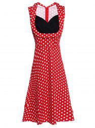 Sweetheart Neck Sleeveless Spliced Polka Dot Midi Dress - RED S