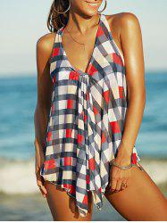 Sexy Halter Checked Three-Piece Swimsuit For Women -