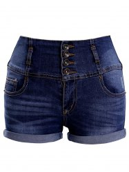 Fashionable High Waist Single Breasted Pocket Design Women's Shorts -