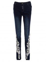 Lace-Spliced Jeans For Women - DEEP BLUE