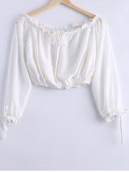 Stylish Off-The-Shoulder Tie Long Sleeves Crop Top For Women -