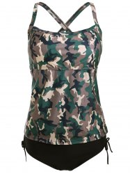 Cross Back Camo Tankini Swimsuit