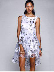 Chic Round Neck Sleeveless Floral Print Layered Asymmetrical Women's Dress -
