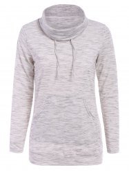 Stylish Cowl Neck Long Sleeve Pocket Design Drawstring Women's Hoodie -