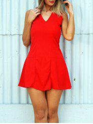 Stylish V-Neck Red Sleeveless Dress For Women
