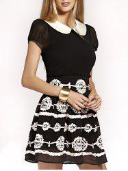 Cute Peter Pan Collar Flower Design Puff Sleeve Mini Dress For Women