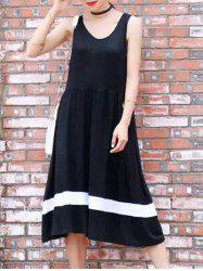 A-Line Sleeveless Hit Color Dress -