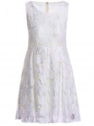 Ladylike Style Round Collar Sleeveless Jacquard Solid Color Lace Pleated Women's Dress - WHITE