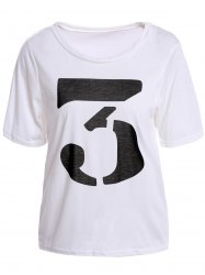 Color Block Retro Style Scoop Neck Figure Print Short Sleeve Women's T-Shirt -