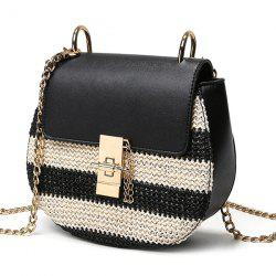 Trendy Color Block and Weaving Design Crossbody Bag For Women