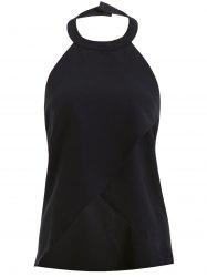 Stylish Solid Color Halter Neck Asymmetric Top For Women -