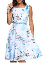 Brief Sleeveless Note Bird Print Belted Women's Dress