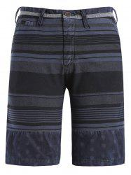 Zipper Fly Stripe and Geometric Print Spliced Straight Leg Shorts For Men