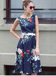 Retro Round Neck Sleeveless Floral Print Slimming Women's Dress