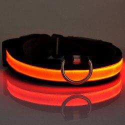 Eye-Catching LED Luminous Night Walk Nylon Woven Collar For Dogs