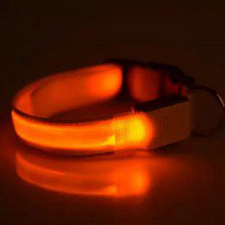 Stylish Smooth Surface LED Luminous  Metal Buckle Collar For Dogs