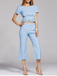 Elegant Belt Tie Top and Flare Cropped Pants Women's Twinset -