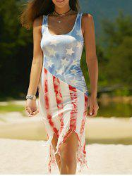 Vest American Flag Print Fringed Patriotic Midi Dress - COLORMIX