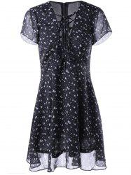 Fashionable V-Neck Cut-Out Chalaza Star Dress For Woman