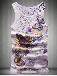 Round Neck Letters and Butterfly 3D Print Tank Top For Men
