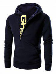 Letter Printed Zipper Design Long Sleeve Hoodie For Men - CADETBLUE