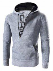 Letter Printed Zipper Design Long Sleeve Hoodie For Men - LIGHT GRAY