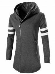 Zipper Design Stripes Hoodie Long Sleeve Jacket For Men - DEEP GRAY
