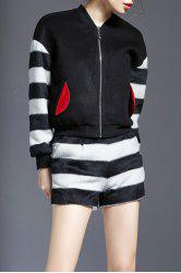 Fuzzy Zip Striped Jacket and Shorts -