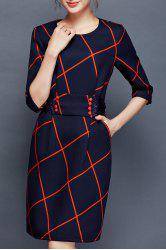 Plaid Bow Back Sheath Dress - PURPLISH BLUE