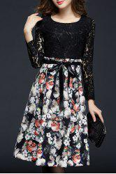 Long Sleeve Lace Panel Floral Dress - COLORMIX