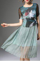 Printed Faux Twinset Dress -