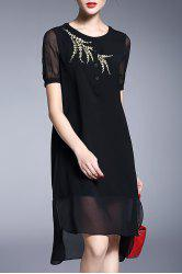 Embroidered High Low Hem Dress -