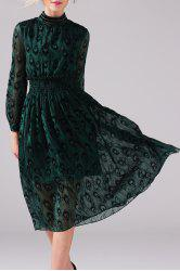 Mock Neck Peacock Graphic Long Sleeve Dress - GREEN