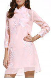 Cami Dress and Stand Neck Embroidery Dress Twinset -