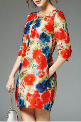 Three Quarter Sleeve Colored A Line Dress -