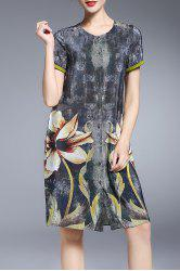 Printed Single Breasted Dress -