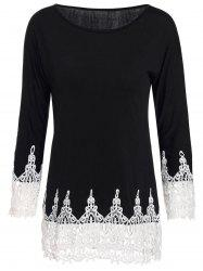 Stylish Scoop Neck 3/4 Sleeve Lace Splicing T-Shirt For Women