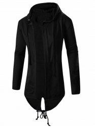 Cardigan Pocket Design Hoodie Long Sleeve Jacket For Men - BLACK