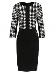 Houndstooth Zippered Bodycon Dress - WHITE AND BLACK XL