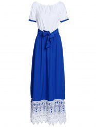 Sweet Color Block Ruffled Sleeve Lace Hem Loose Maxi Dress For Women