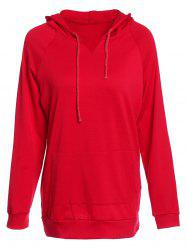 Trendy Hooded Long Sleeve Solid Color Pocket Design Women's Hoodie -