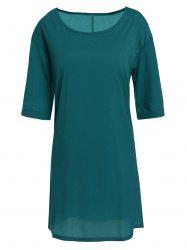 Casual Round Neck Half Sleeve Loose-Fitting Solid Color Women's Dress