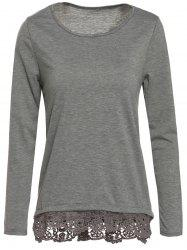 Stylish Scoop Neck Long Sleeve Gray Lacework Women's T-Shirt