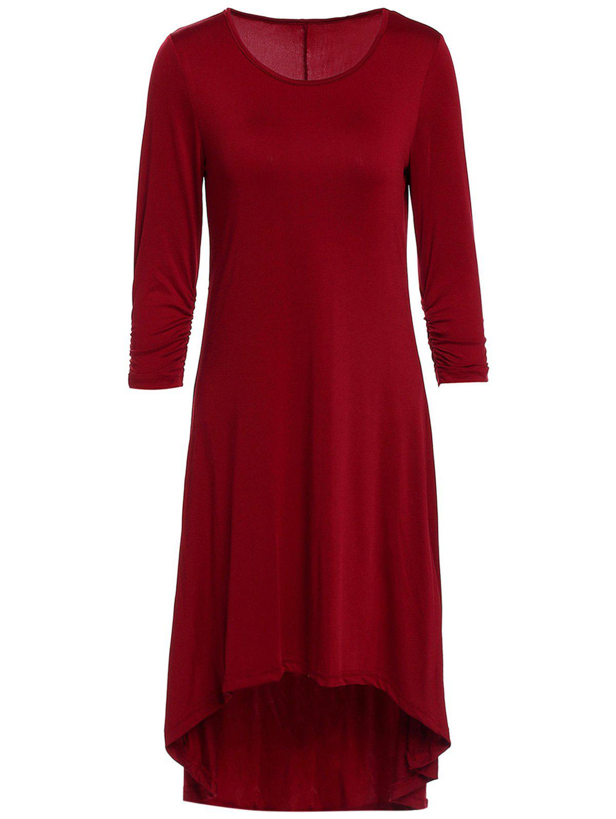 Hot Casual Scoop Neck 3/4 Sleeve Solid Color Asymmetric Dress For Women