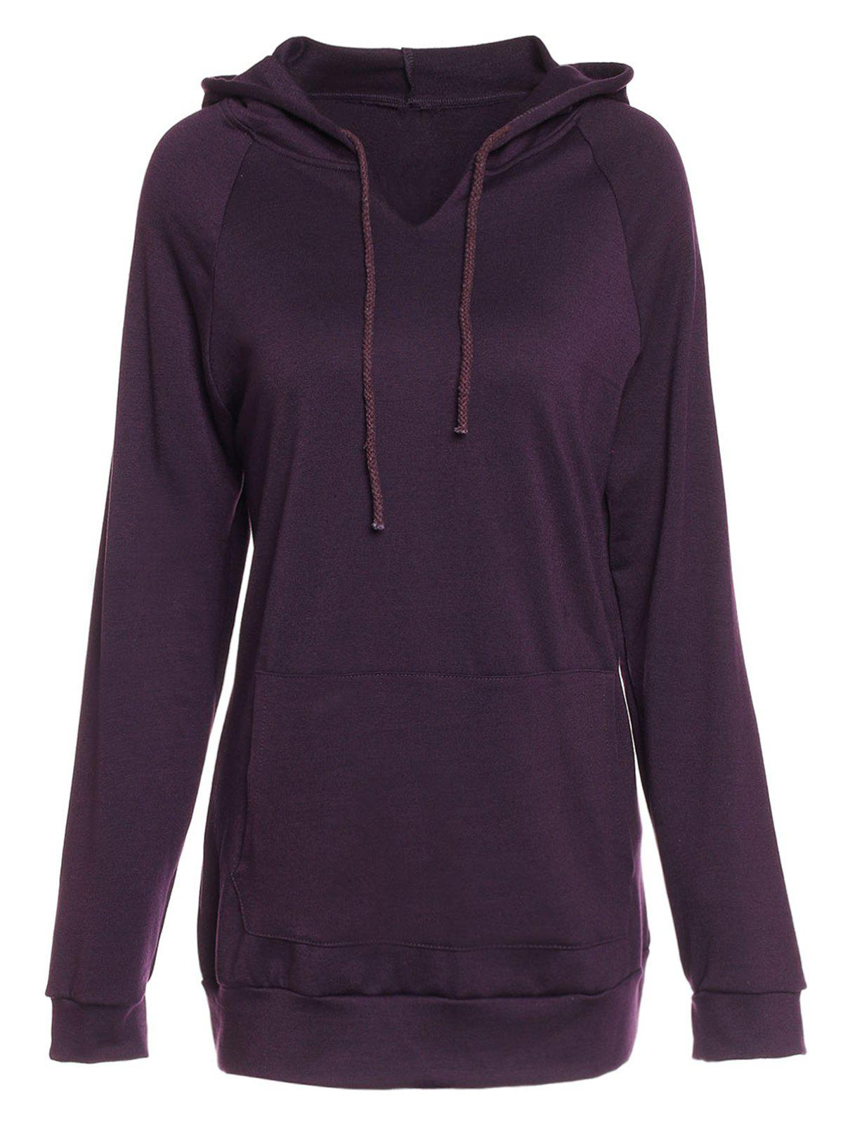 a78fbc10b Trendy Hooded Long Sleeve Solid Color Pocket Design Women's Hoodie