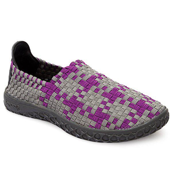 Affordable Leisure Weaving and Color Block Design Loafers For Men