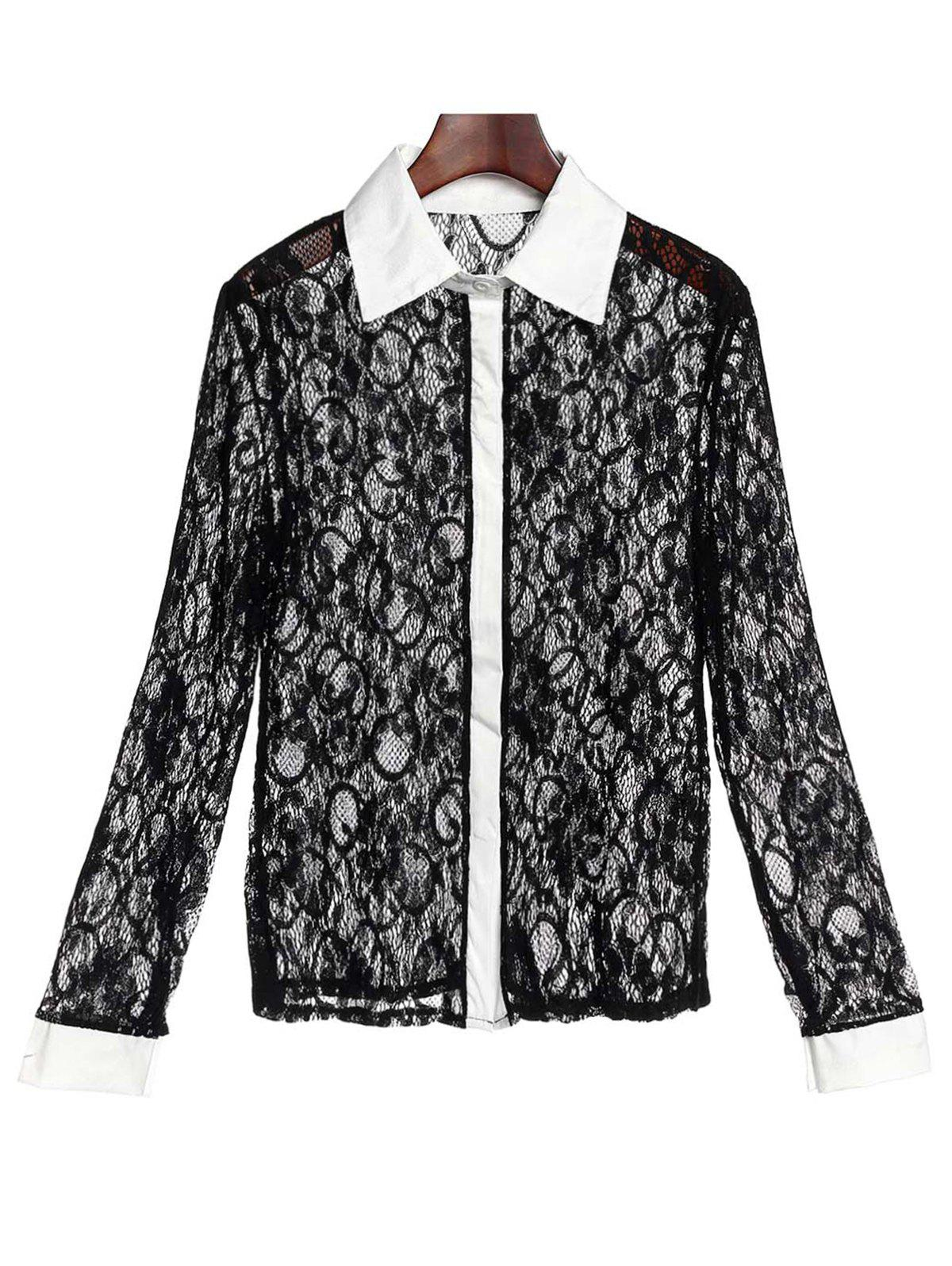 Hot Stylish Turn-Down Collar Long Sleeve Color Block Slimming Lace Women's Blouse